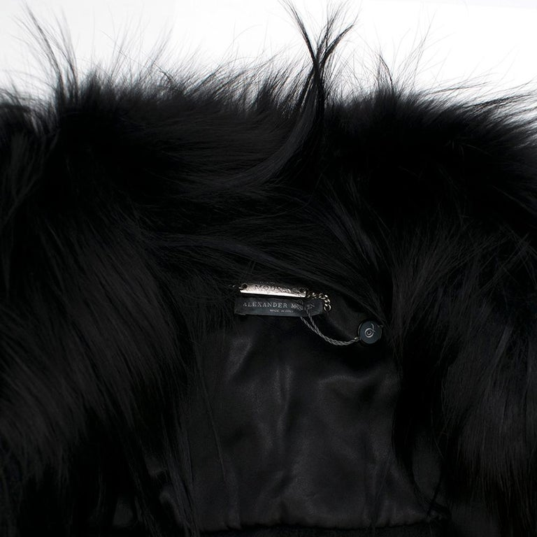Alexander McQueen Black Fur Cape Scarf For Sale 5