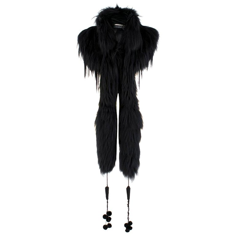 Alexander McQueen Black Fur Cape Scarf For Sale