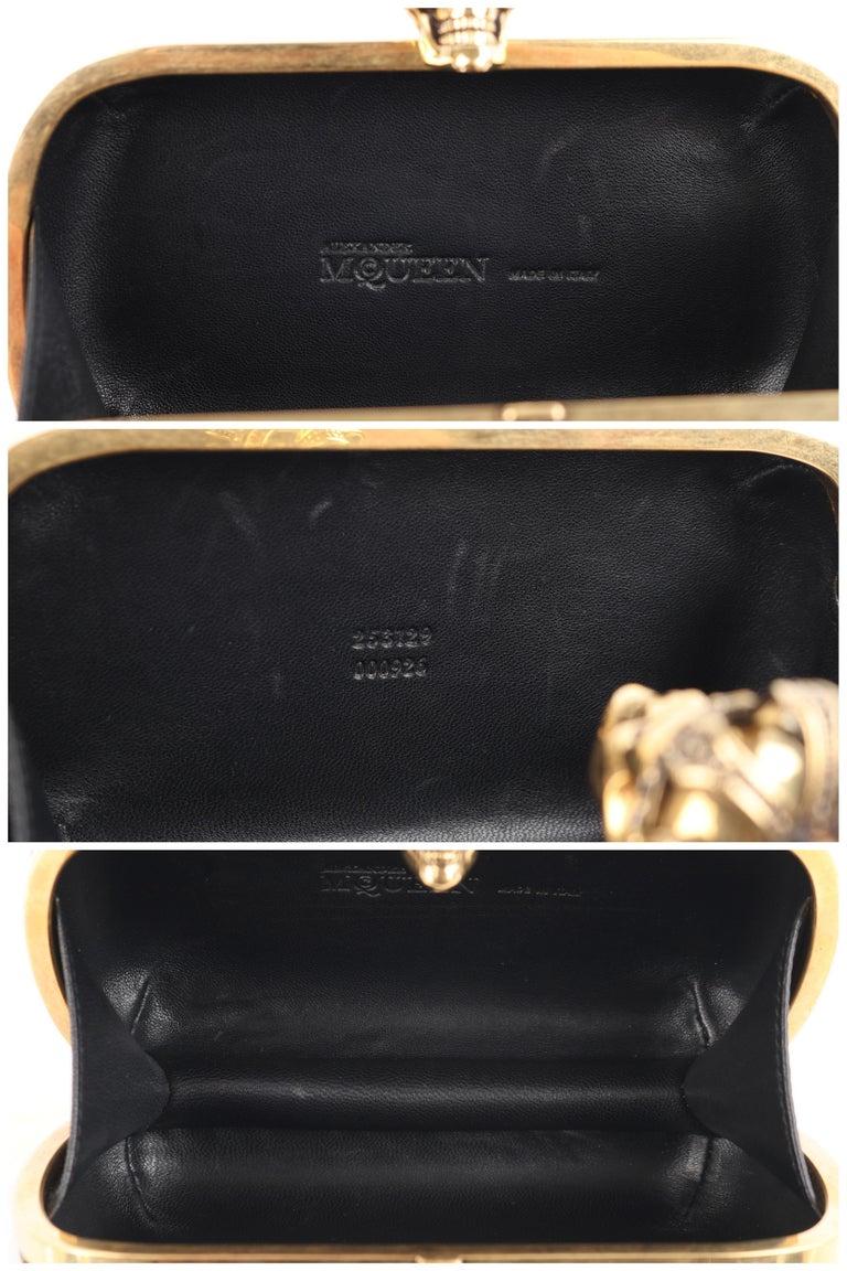 ALEXANDER McQUEEN Black Gold Floral Brocade Skeleton Skull Crown Box Clutch For Sale 6