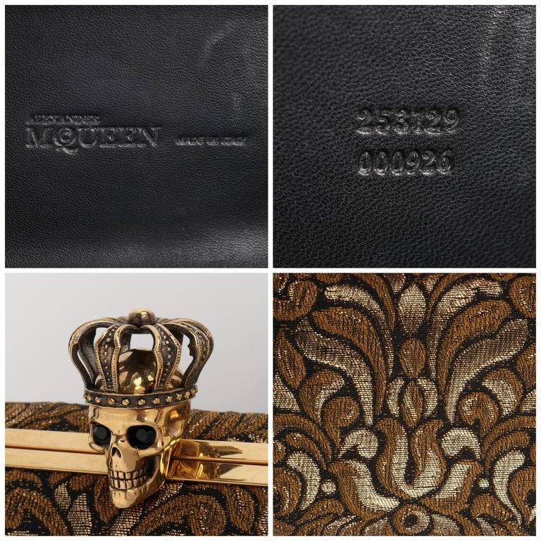 ALEXANDER McQUEEN Black Gold Floral Brocade Skeleton Skull Crown Box Clutch For Sale 7