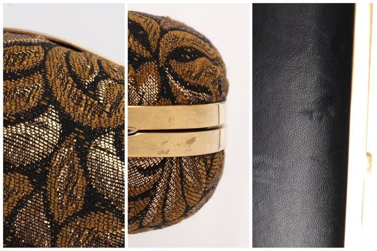 ALEXANDER McQUEEN Black Gold Floral Brocade Skeleton Skull Crown Box Clutch For Sale 8