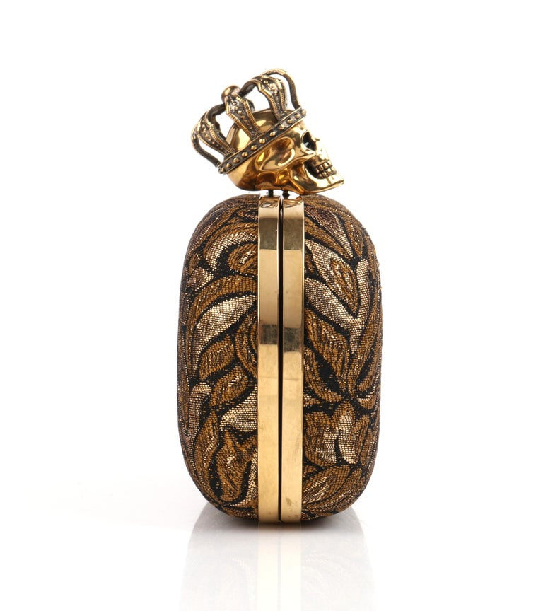 Women's ALEXANDER McQUEEN Black Gold Floral Brocade Skeleton Skull Crown Box Clutch For Sale