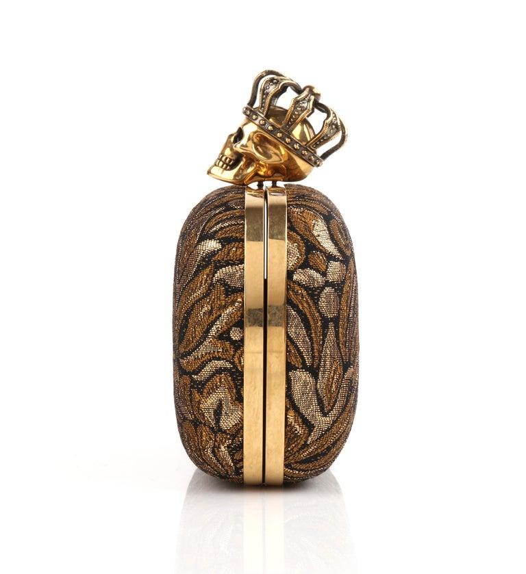 ALEXANDER McQUEEN Black Gold Floral Brocade Skeleton Skull Crown Box Clutch For Sale 2