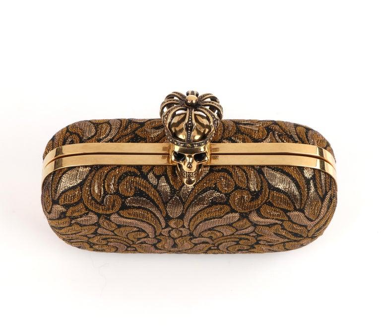 ALEXANDER McQUEEN Black Gold Floral Brocade Skeleton Skull Crown Box Clutch For Sale 3
