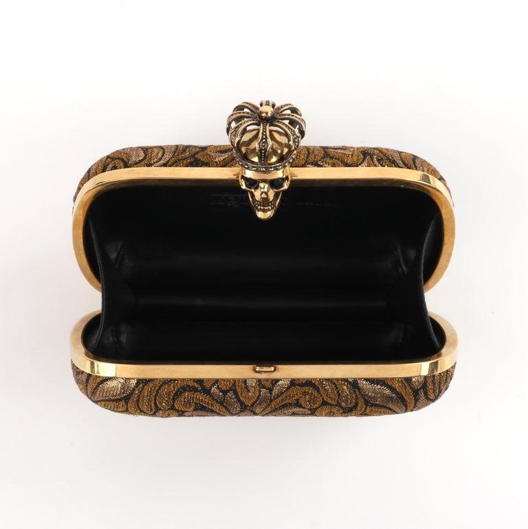 ALEXANDER McQUEEN Black Gold Floral Brocade Skeleton Skull Crown Box Clutch For Sale 4