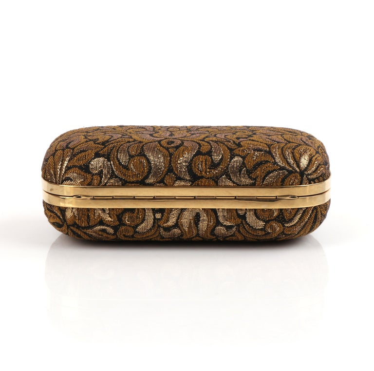 ALEXANDER McQUEEN Black Gold Floral Brocade Skeleton Skull Crown Box Clutch For Sale 5