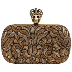 ALEXANDER McQUEEN Black Gold Floral Brocade Skeleton Skull Crown Box Clutch