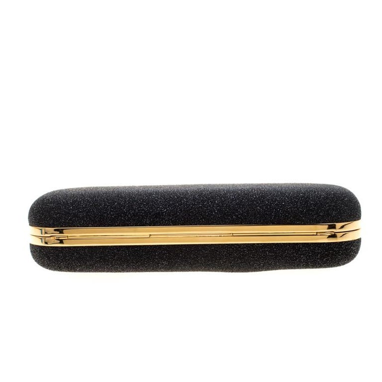 Alexander McQueen Black/Gold Ombre Glitters Skull Knuckle Clutch For Sale 1