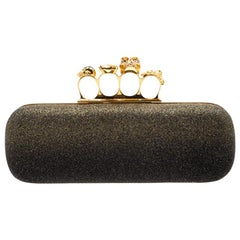 Alexander McQueen Black/Gold Ombre Glitters Skull Knuckle Clutch