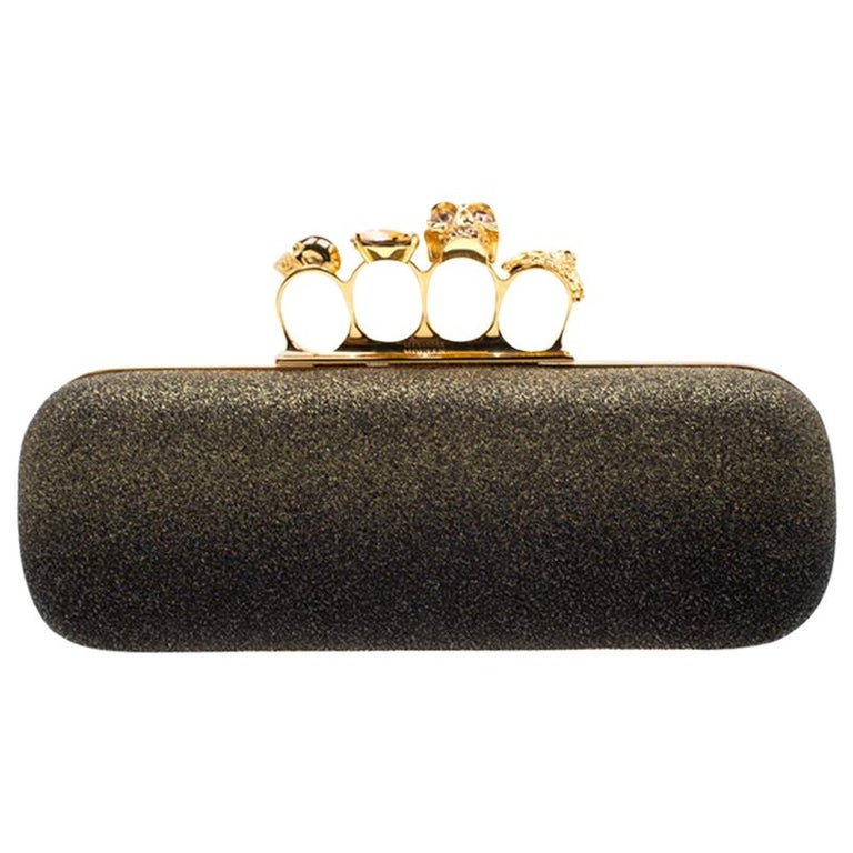 Alexander McQueen Black/Gold Ombre Glitters Skull Knuckle Clutch For Sale