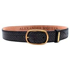 Alexander McQueen Black & Gold Snakeskin Textured Belt