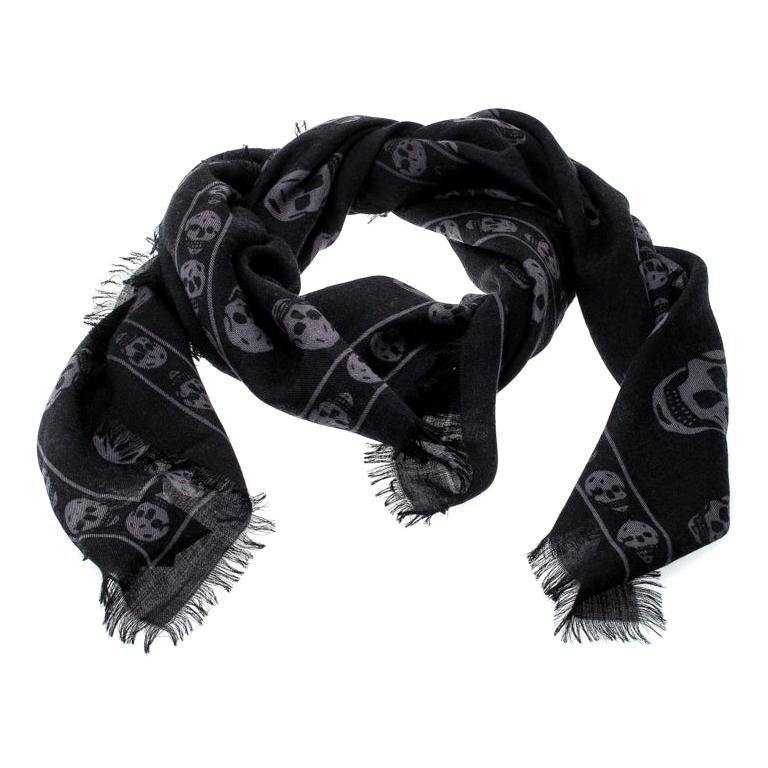 Alexander McQueen Black & Grey Skull Print Cashmere Scarf For Sale