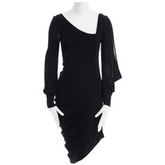 ALEXANDER MCQUEEN black knit asymmetric neckline kimono sleeve draped dress S