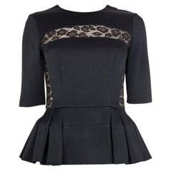 Alexander McQueen black LACE DETAIL PLEATE PEPLUM Blouse Shirt 40 S