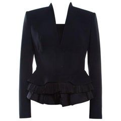 Alexander McQueen Black Leaf Crepe Pleated Bottom Structured Jacket S