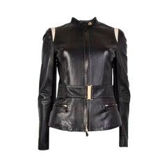 ALEXANDER MCQUEEN black LEATHER BELTED BIKER Jacket 40