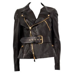 Alexander McQueen black LEATHER BELTED BIKER Jacket 44