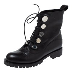 Alexander McQueen Black Leather Boots Size 39