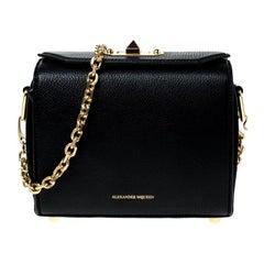 Alexander McQueen Black Leather Box 19 Shoulder Bag