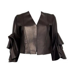 ALEXANDER MCQUEEN black LEATHER CROPPED RUFFLE Jacket 38