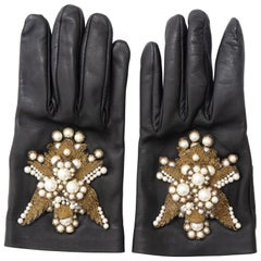 Alexander McQueen Black Leather Embroidered Pearls Silk Lined Gloves, Fall 2013