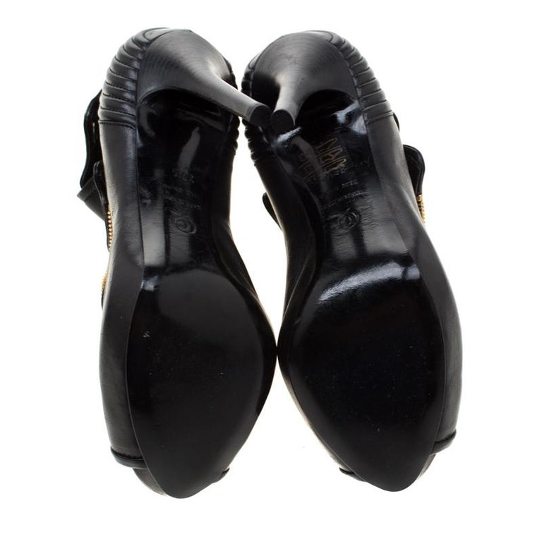 Women's Alexander McQueen Black Leather Faithful Skull Peep Toe Ankle Boots Size 36.5 For Sale