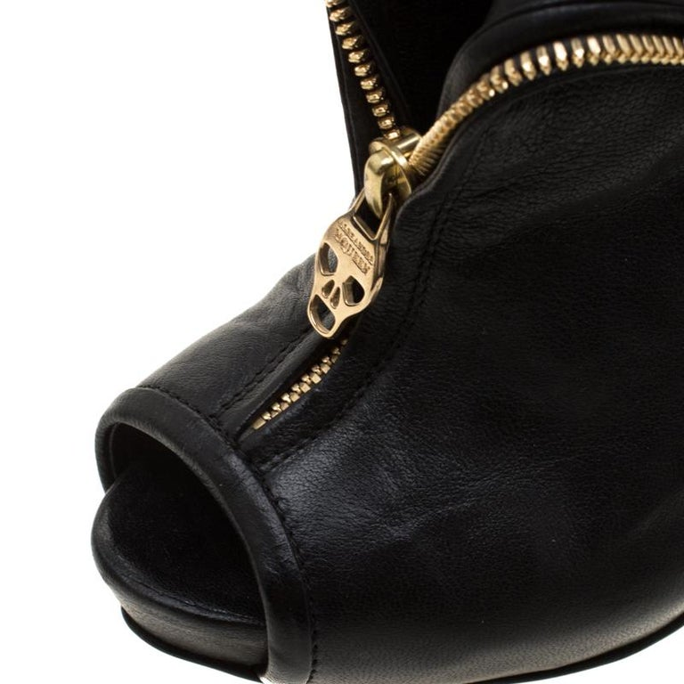 Alexander McQueen Black Leather Faithful Skull Peep Toe Ankle Boots Size 36.5 For Sale 1