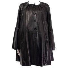 ALEXANDER MCQUEEN black leather FLARED SLEEVE Coat Jacket 40 S