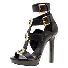 Alexander McQueen Black Leather French Gloss Platform Strappy Sandals Size 38