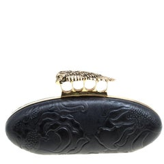 Alexander McQueen Black Leather Hell's Knuckle Duster Skull Box Clutch