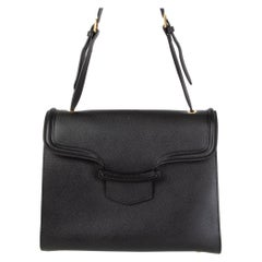 ALEXANDER MCQUEEN black leather HEROINE Flap Shoulder Bag