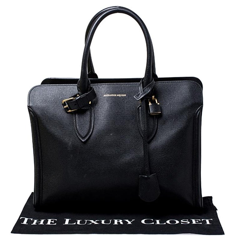 Alexander McQueen Black Leather Heroine Open Tote For Sale 7