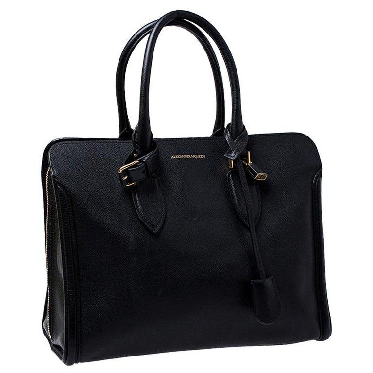 Women's Alexander McQueen Black Leather Heroine Open Tote For Sale