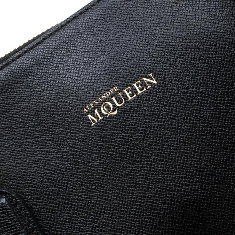 Alexander McQueen Black Leather Heroine Open Tote For Sale 4