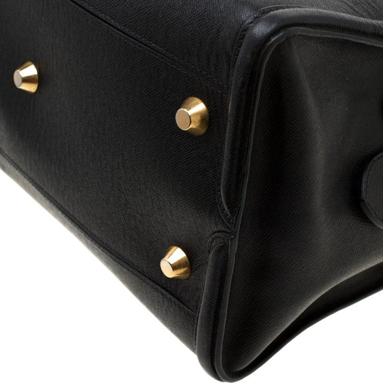 Alexander McQueen Black Leather Heroine Open Tote For Sale 5