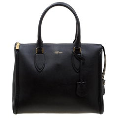 Alexander McQueen Black Leather Heroine Open Tote