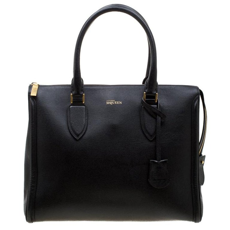 Alexander McQueen Black Leather Heroine Open Tote For Sale