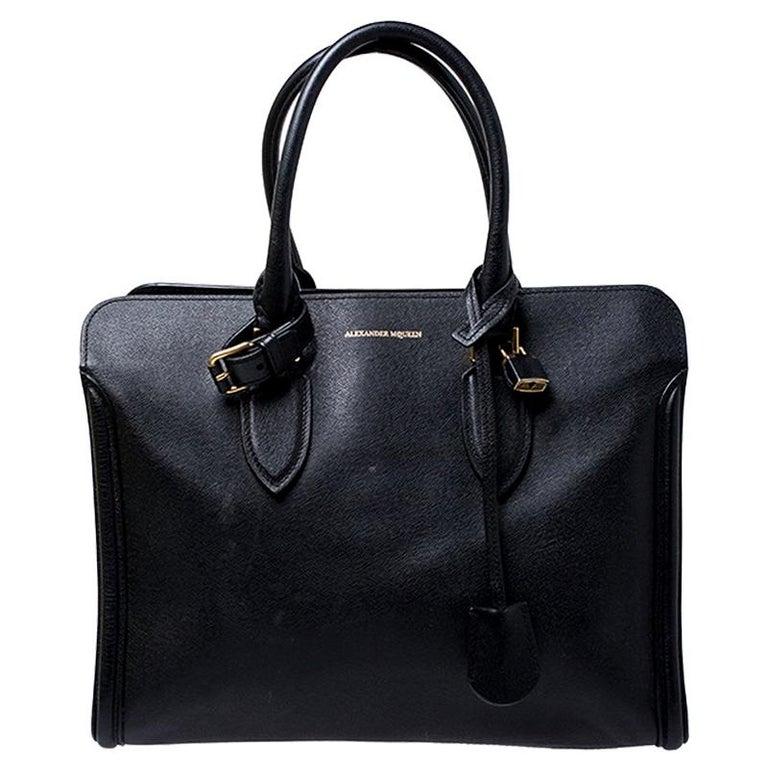 Alexander McQueen Black Leather Heroine Open Tote For Sale