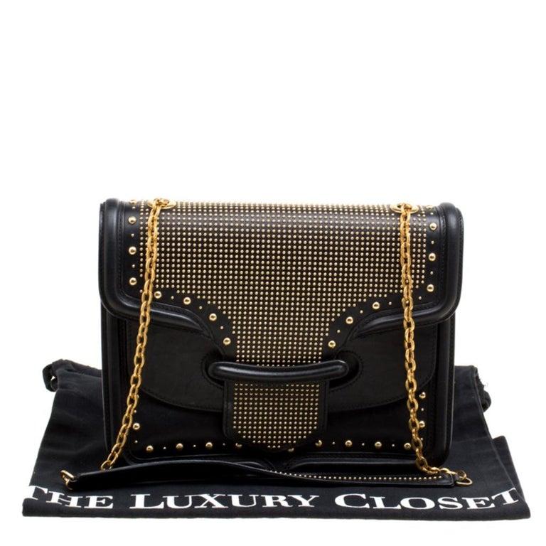 Alexander McQueen Black Leather Heroine Studded Shoulder Bag 7