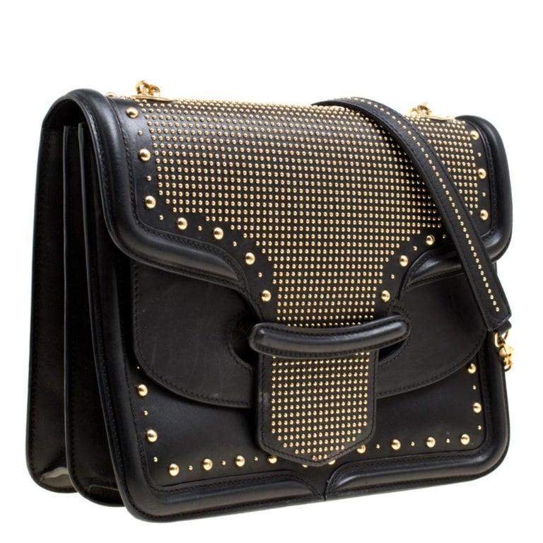 Women's Alexander McQueen Black Leather Heroine Studded Shoulder Bag