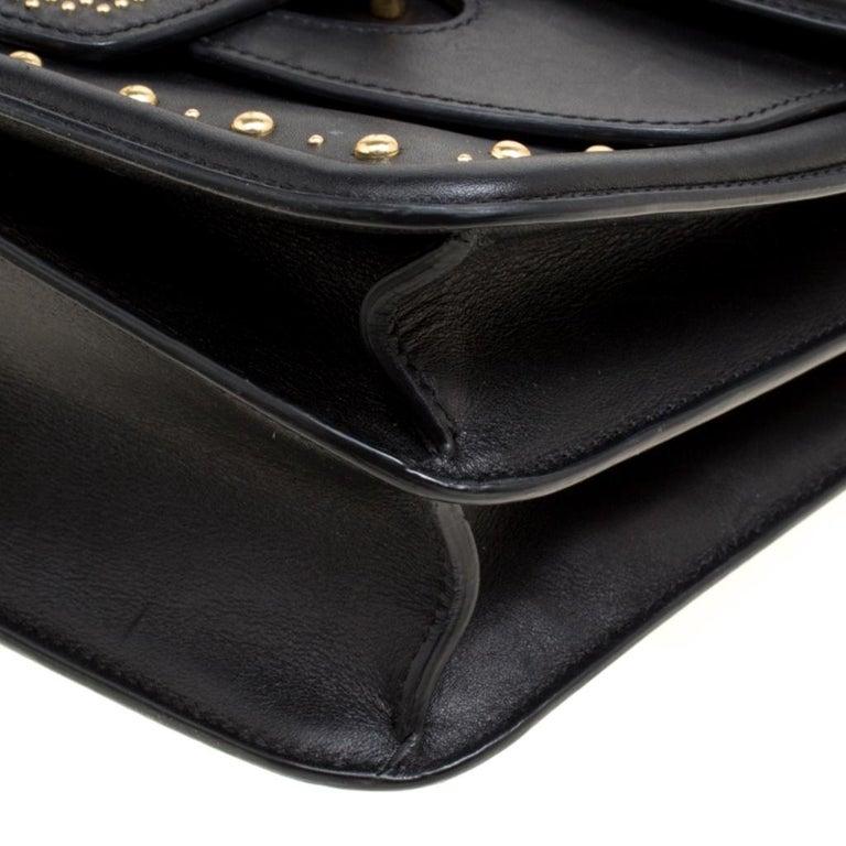 Alexander McQueen Black Leather Heroine Studded Shoulder Bag 2