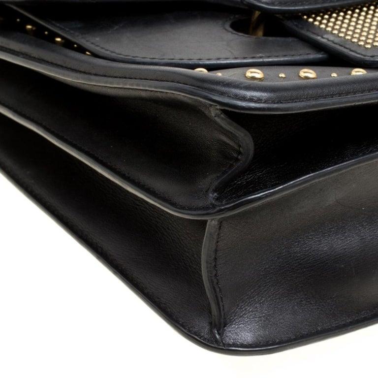 Alexander McQueen Black Leather Heroine Studded Shoulder Bag 3