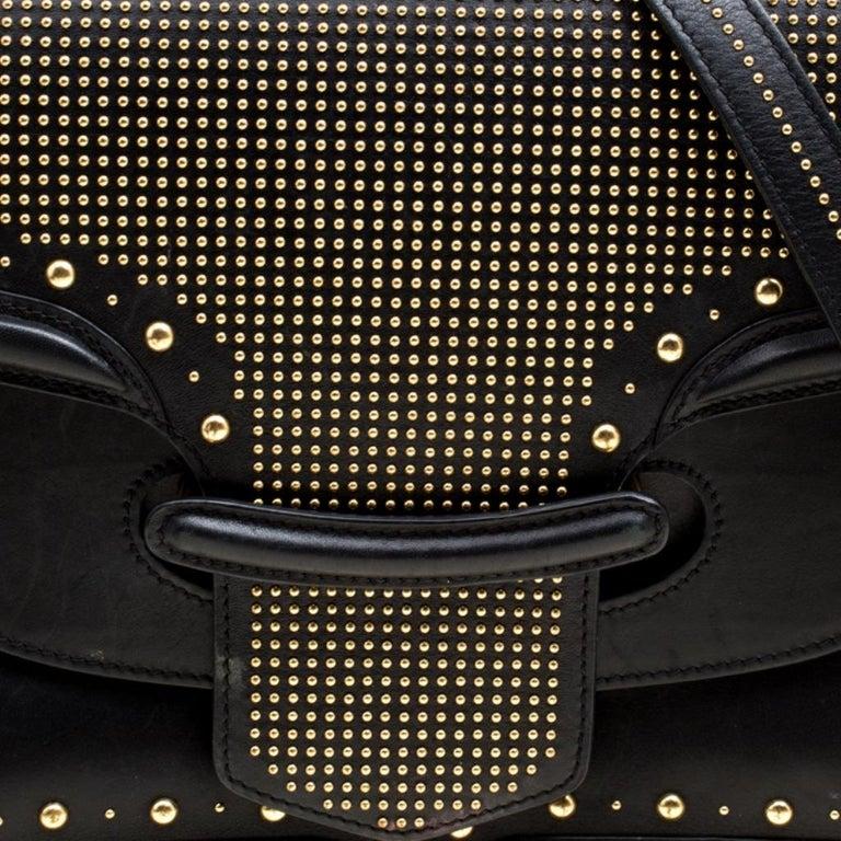 Alexander McQueen Black Leather Heroine Studded Shoulder Bag 4