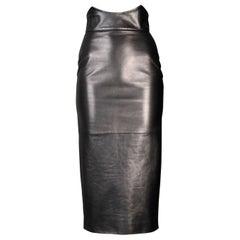 Alexander McQueen Black Leather High Waist Corset skirt