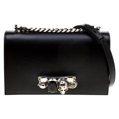 Alexander McQueen Black Leather Jeweled Shoulder Bag