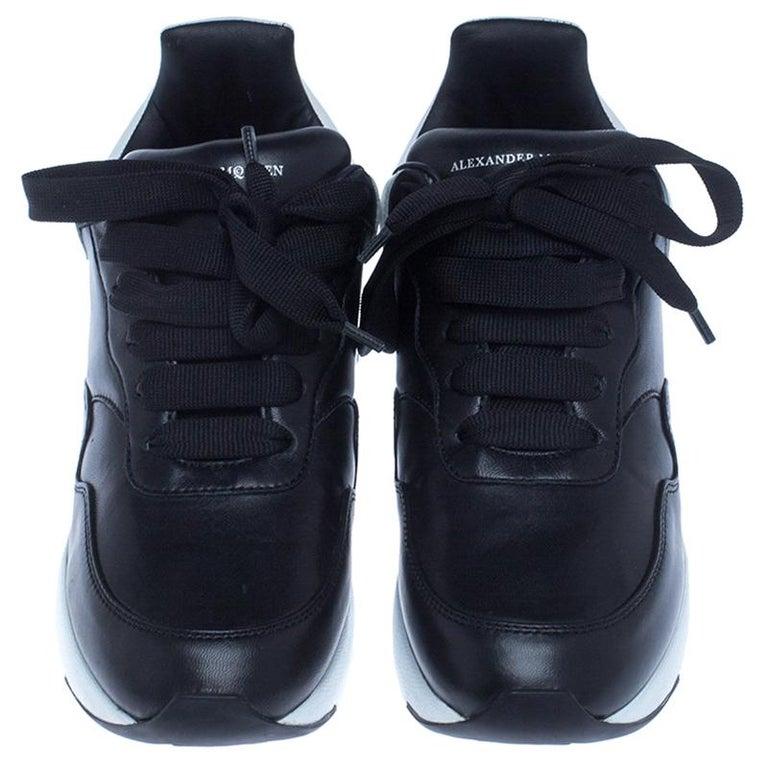 Alexander McQueen Black Leather Lace Up Sneakers Size 37 In New Condition For Sale In Dubai, Al Qouz 2