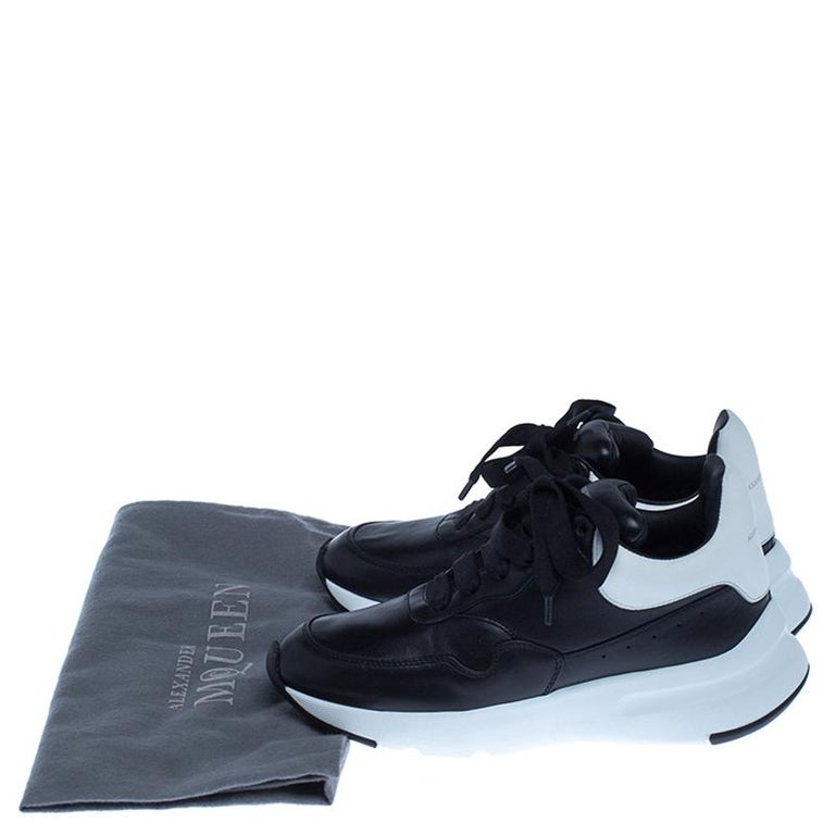 Alexander McQueen Black Leather Lace Up Sneakers Size 37 For Sale 5