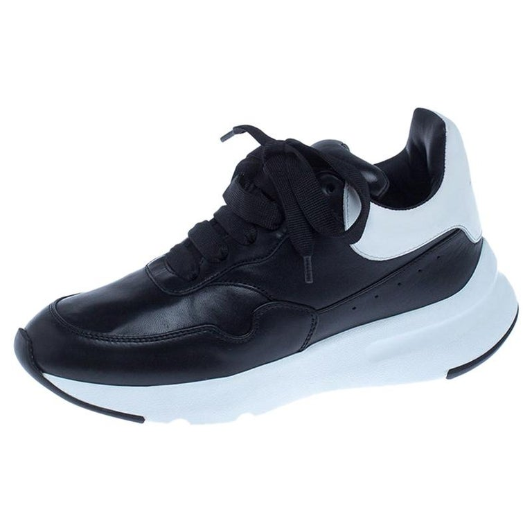 Alexander McQueen Black Leather Lace Up Sneakers Size 37 For Sale
