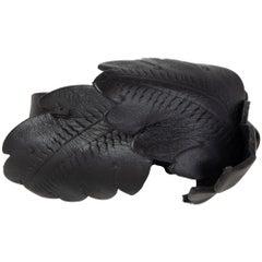 ALEXANDER MCQUEEN black leather LEAF Bracelet Armband Cuff