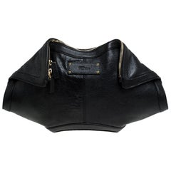 Alexander McQueen Black Leather Medium De Manta Clutch
